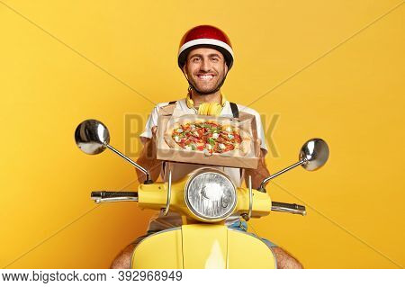 Satisfied Motorcyclist Delivers Tasty Fresh Baked Pizza, Wishes Good Appetite For Customers, Holds C