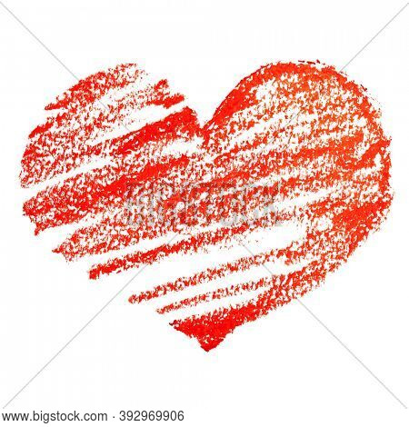 Red heart by crayon isolated on the white background