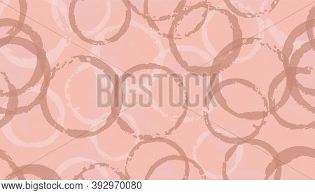 Funky Painted Circles Geometry Fabric Print. Round Shape Blot Overlapping Elements Vector Seamless P
