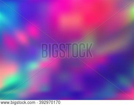 Hologram Effect Glitch Gradient Vector Design. Mesmerizing Rainbow Spectrum Background. Hologram Col