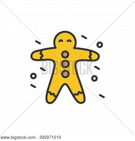 Gingerbread Line Icon. Ginger Man Cookies. New Year Celebration. Moments, Details And Festive Decora