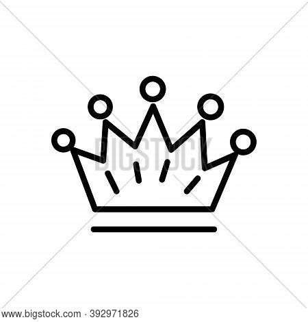 Crown Line Icon Illustration On White Background. Royal Family, Aristocracy Sign.