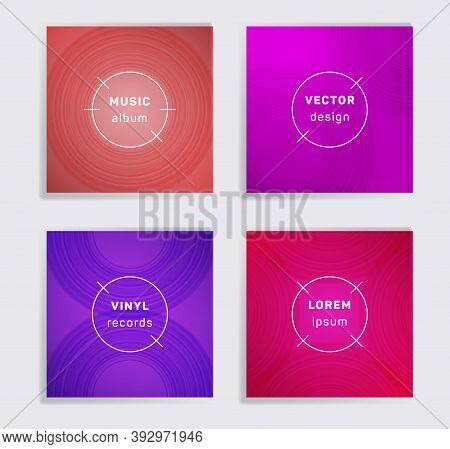 Abstract Vinyl Records Music Album Covers Set. Semicircle Curve Lines Patterns. Minimal Creative Vin