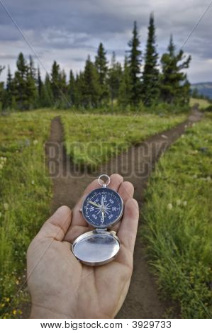 Compass Held Out At A Fork In The Trail