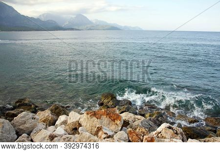 Picturesque Sea In The Background Of Mountains And Rocky Coast In Kemer In Turkey