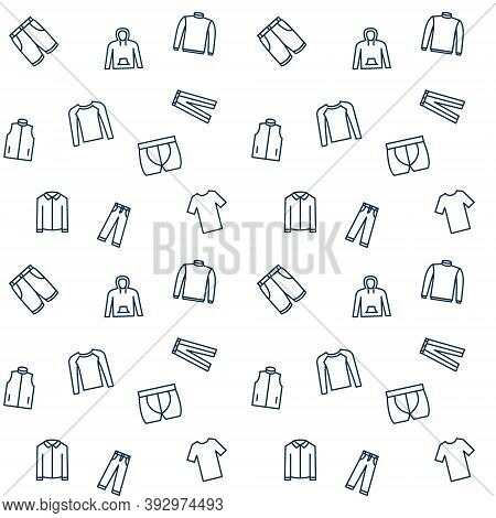 Vector Seamless Pattern Of Men's Clothes And Accessories. Dark Print On White Background. Background