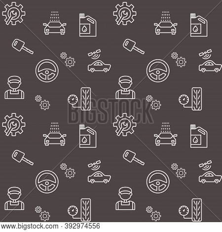 Seamless Pattern With Car Service Icon. Vector Illustration.