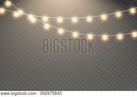 Xmas Glowing Garland. Vector Illustration. Glowing Light Bulbs Christmas And New Year Realistic Garl
