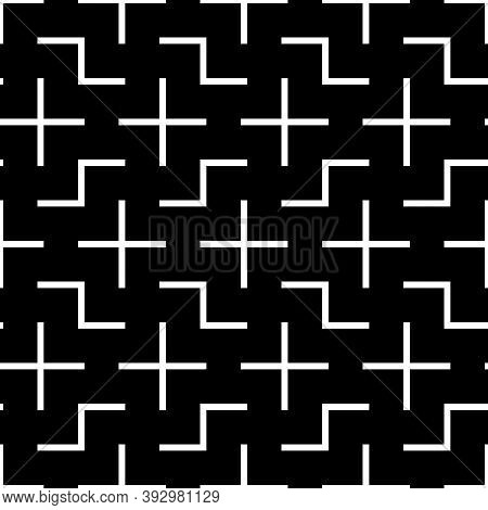 Repeated White Puzzle On Black Background. Seamless Surface Pattern Design With Logic Mosaic Ornamen