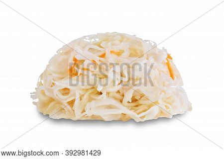 Fresh Raw Pickled Cabbage With Casrrot On A White Isolated Background