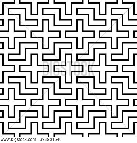 Repeated Black Puzzle On White Background. Seamless Surface Pattern Design With Logic Mosaic Ornamen