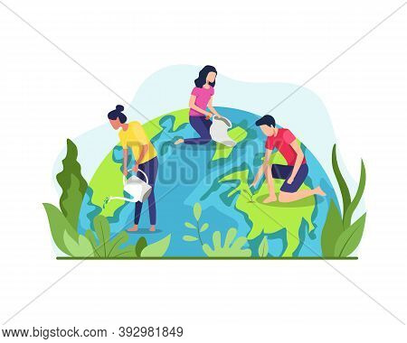 Vector Illustration Of Save The Planet Earth. The Concept Of The Earth Day Vector, Environmental Pro
