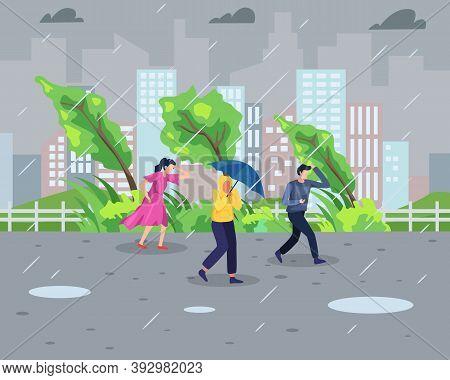 Vector Illustration Rainstorm Concept. People Walk During Rainstorm With Cityscape Background. Natur