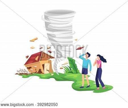 Destructive Tornado Illustration. Twisting Tornado Destroying House, The People Were Afraid And Save