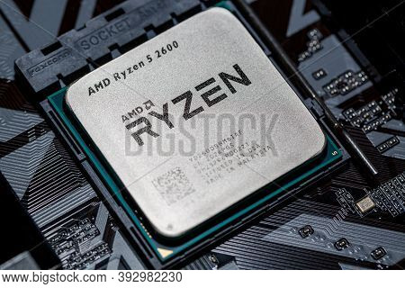 Moscow, Russia - October, 2020: Amd Ryzen 5 2600 Processor Close Up In The Black Motherboard Cpu Soc