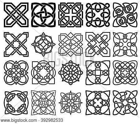 Set Of Rish Celtic Shamrock Knots. Symbol Of Ireland. Traditional Medieval Frame Pattern Illustratio