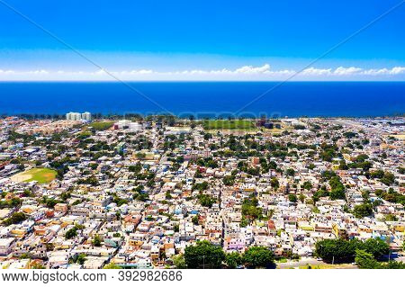 Aerial Drone View Of Santo Domingo City With Caribbean Sea. The Capital Of Dominican Republic