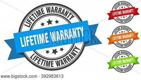 Lifetime Warranty Stamp. Round Band Sign Set. Label
