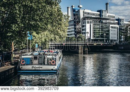 Berlin, Germany / 14 May 2019: Excursion Boat On Spree River Near Famous Museumsinsel (museum Island