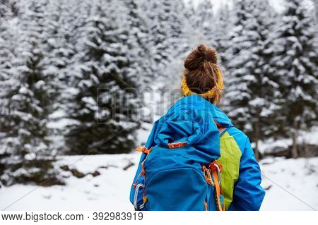 Back View Of Woman Tourist Stands On Snowy Mountain Top, Admires Beautiful Fir Trees Covered With Sn