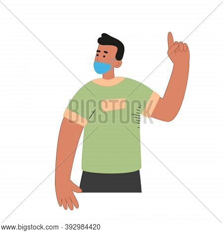 A Man In A Mask Shows A Gesture With His Forefinger. The Importance Of Using A Mask Of Protection. W