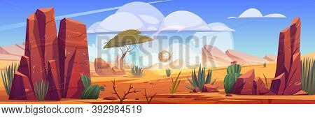 Desert Of Africa Natural Background With Tumbleweed Rolling Along Hot Dry Deserted African Nature La