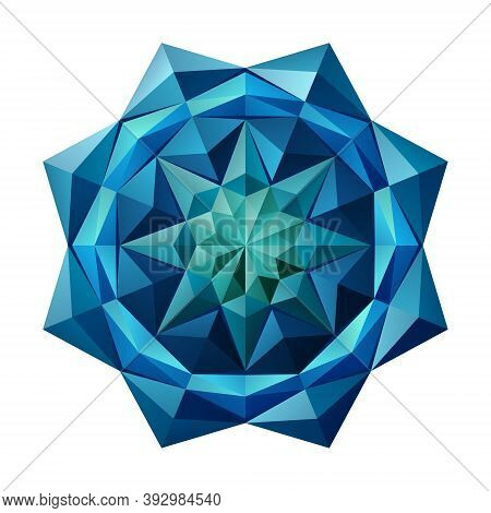 3d Blue Sapphire Geometric Eight-pointed Flower. Arranged In An Origami Mandala Style. Vector Illust