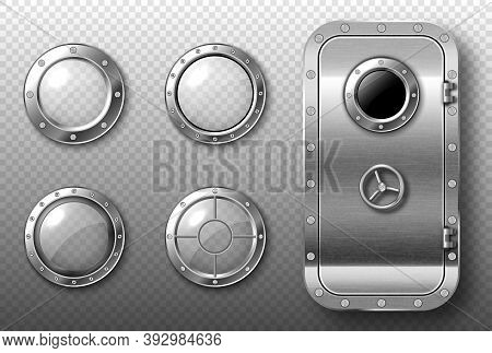 Portholes And Metal Door In Spaceship, Submarine, Lab Or Bunker. Vector Realistic Set Of Round Glass