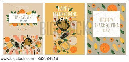 Thanksgiving Greetings Card And Invitations. Celebrating Thanksgiving Day. Hand Draw Vector Illustra