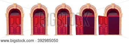 Cartoon Door Opening Motion Sequence Animation. Close, Slightly Ajar And Open Wooden Red Doorways Wi