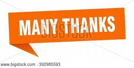 Many Thanks Banner. Many Thanks Speech Bubble. Many Thanks Sign