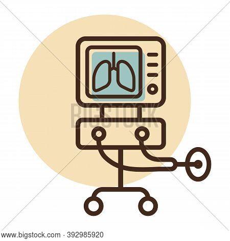 Icu Ventilator Vector Icon, Medical Therapy For Lungs Ventilation. Intensive Care For Covid-19. Medi