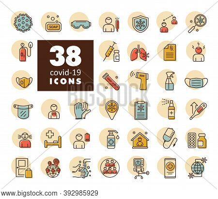 Set Corona Virus Vector Icons. Symptoms And Protective Antivirus Icons Related To Coronavirus, 2019-