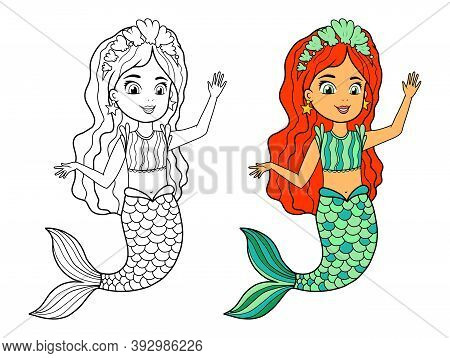 Vector Coloring Book With A Mermaid. Black And White And Color Sample Of The Coloring Page. A Water