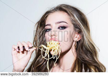 Sexy Seductive Cheeky Girl Eats A Pasta