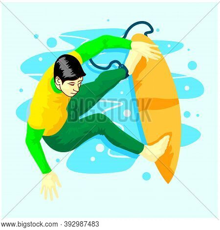 Male Surfer Standing On Surfboard Riding At Wave Vector Flat Illustration. Active Guy Practicing Sea