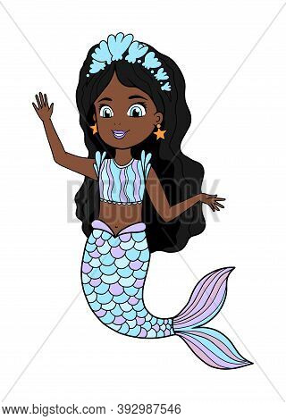 Vector Illustration Of An African American Little Mermaid With A Blue Tail And Dress. Beautiful Dark
