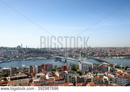 Skyline of Istanbul, as seen from Galata Tower. View of the Golden Horn Metro Bridge and Ataturk Bridge. City of Istanbul, Turkey.