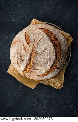 Freshly Baked Homemade Artisan Sourdough Rye And White Flour Bread. Sliced. Close Up. Copy Space.