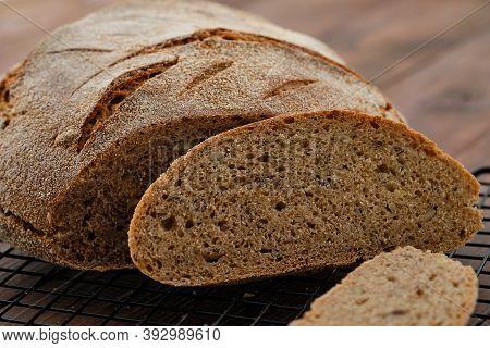 Freshly Baked Homemade Artisan Sourdough Rye And White Flour Bread. Sliced. Copy Space.