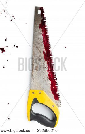 Bloody Hand Saw Isolated On White Background.