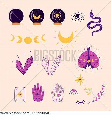 Magic Set. Alchemy Set. Mystic Set Witch Elements Witch Doodle Mysterious Symbols Vector