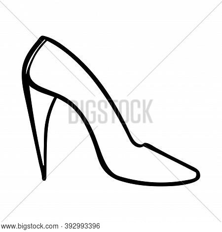 High-heeled Shoe Sketch. Female Clothing Illustration. Black Line Illustration On White Background.