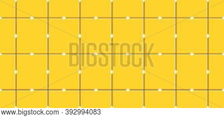 Yellow Ceramic Tiles With Plastic Crosses In Joints On Wall.seamless Pattern Of Ceramic Tile