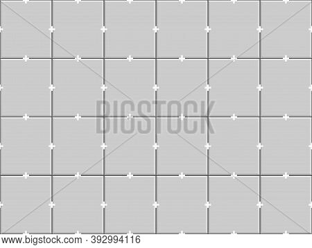 Gray Ceramic Tiles With Plastic Crosses In Joints On Wall. Seamless Pattern Of Ceramic Tile