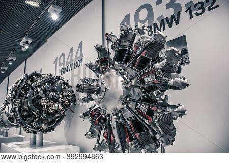Munich/ Germany - May, 24 2019: 1932 Bmw 132 Engine In Bmw Museum/ Bmw Welt