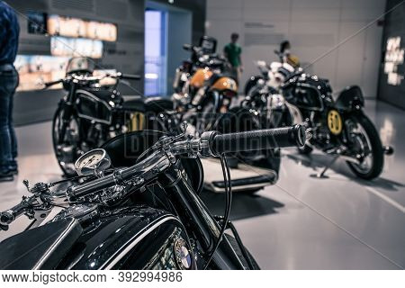 Munich/ Germany - May, 24 2019: Classic Bmw Motorcycles In Bmw Museum/ Bmw Welt