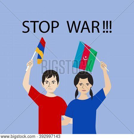Armenia Vs Azerbaijan War Background. International Clash Symbol Armenia Vs Azerbaijan. Couple Man A