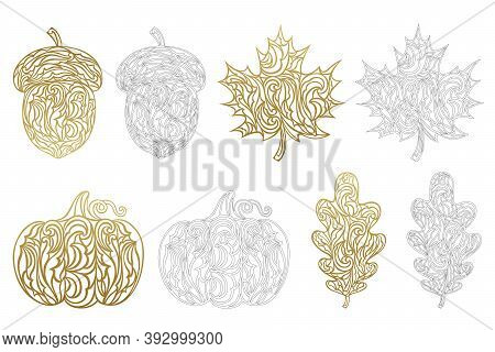 Set Of Vector Autumn Templates For Laser And Paper Cutting. Silhouettes Of Pumpkin, Maple And Oak Le