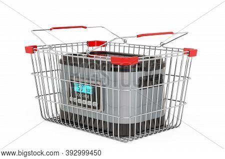 Sous Vide Machine Inside Shopping Basket, 3d Rendering Isolated On White Background
